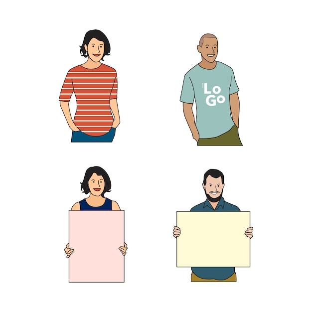 Illustrated cheerful human avatar set Free Vector