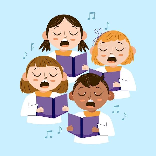 Иллюстрированные дети, поющие вместе в хоре Бесплатные векторы