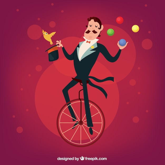 Illustrated circus magician Free Vector