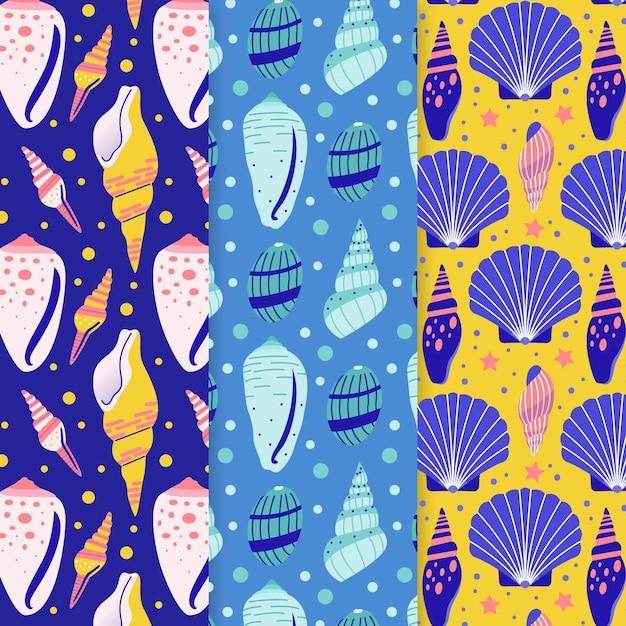 Collezione colorata illustrata di modelli di conchiglie Vettore gratuito
