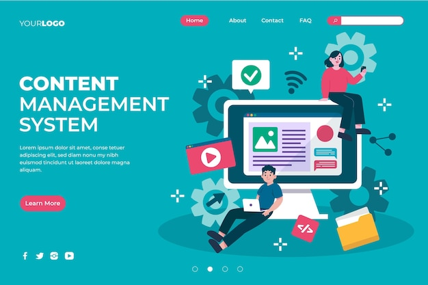 Illustrated content management system landing page template Free Vector