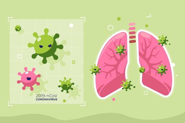 肺の図解コロナウイルスの概念 無料ベクター