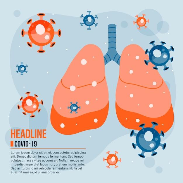 肺に感染したコロナウイルスの概念図 Premiumベクター