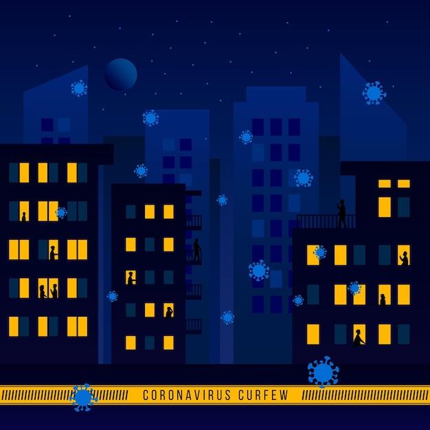 Иллюстрированная концепция комендантского часа из-за коронавируса с пустым городом ночью Бесплатные векторы