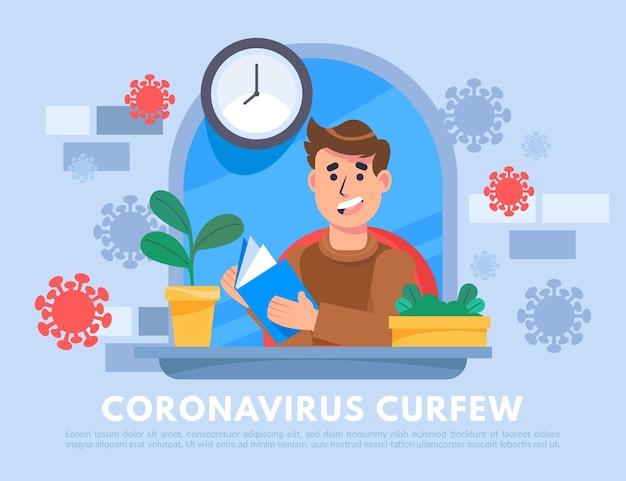 Illustrato il concetto di coprifuoco del coronavirus Vettore gratuito