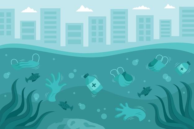 Rifiuti di coronavirus illustrati sullo sfondo dell'oceano Vettore gratuito
