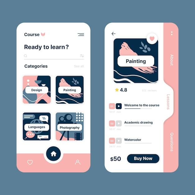 Illustrated course app interface template Free Vector