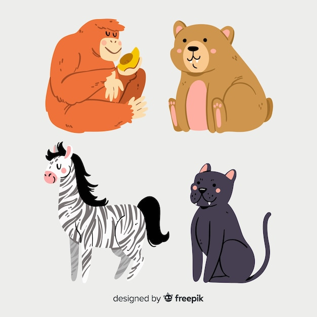 Illustrated cute animals collection Free Vector