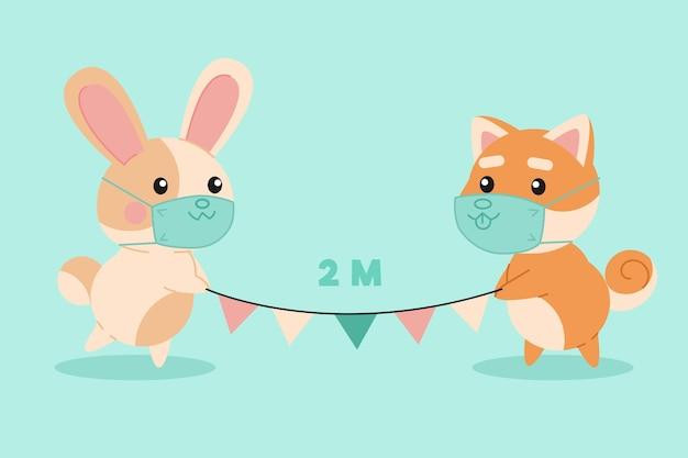 Simpatici animali illustrati che praticano l'allontanamento sociale Vettore gratuito