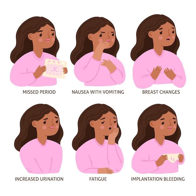 Illustrati diversi sintomi di gravidanza Vettore gratuito
