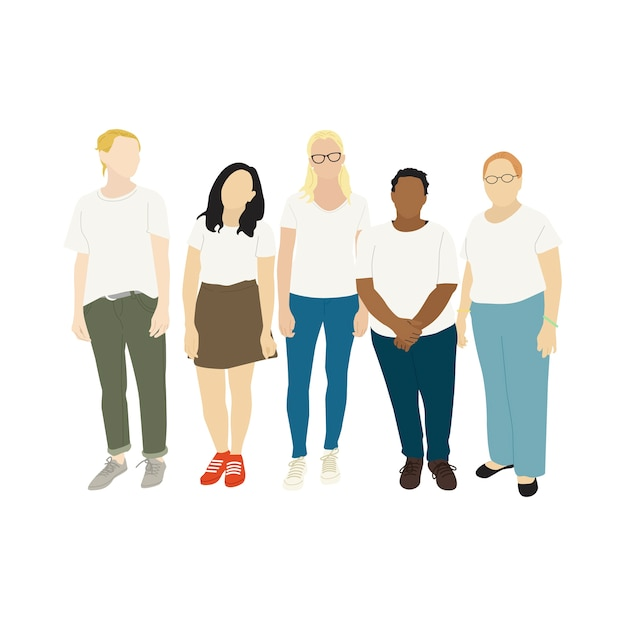 Illustrated diverse casual people Free Vector