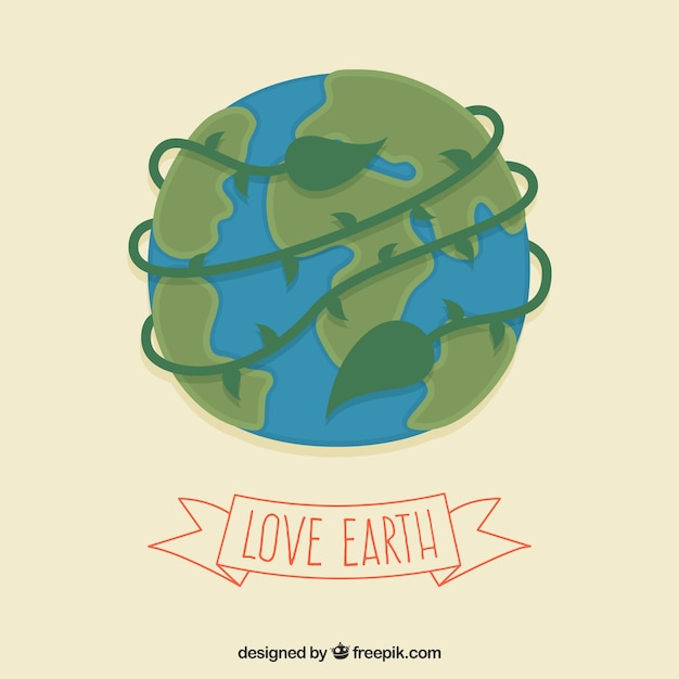 Illustrated earth for earth day Free Vector