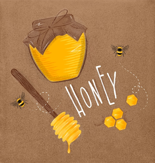 Illustrated elements honey spoon, honeycombs, bank with honey, bees honey drawing on craft Premium Vector