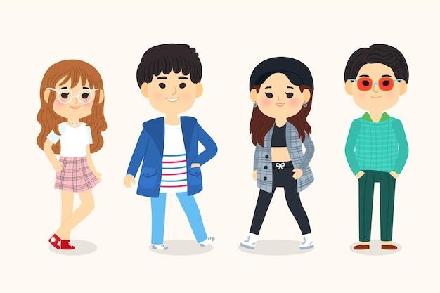 Иллюстрированная мода молодых корейцев Бесплатные векторы