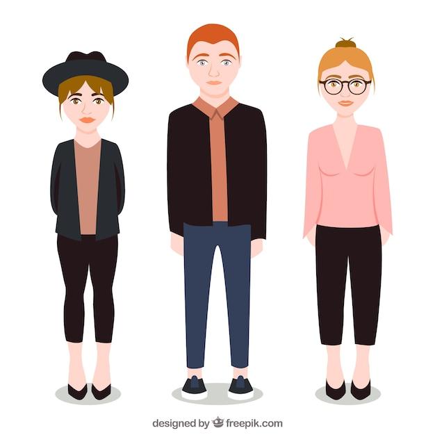 Illustrated fashionable teenagers