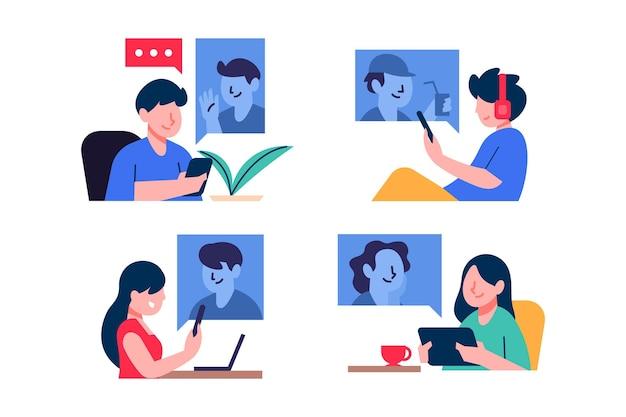 Иллюстрированная сцена видеоконференцсвязи друзей Бесплатные векторы