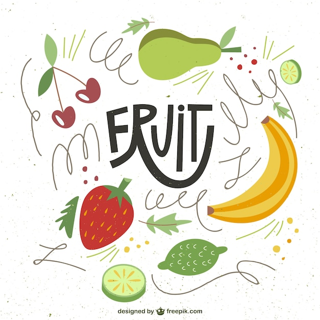 Illustrated fruits in abstract style