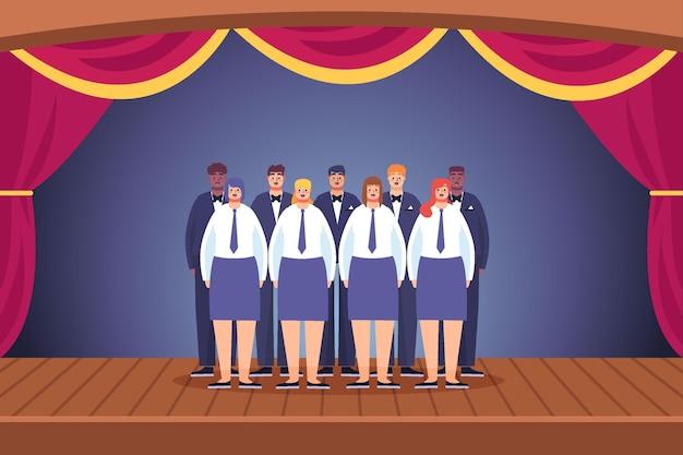 Иллюстрированный евангельский хор на сцене Бесплатные векторы