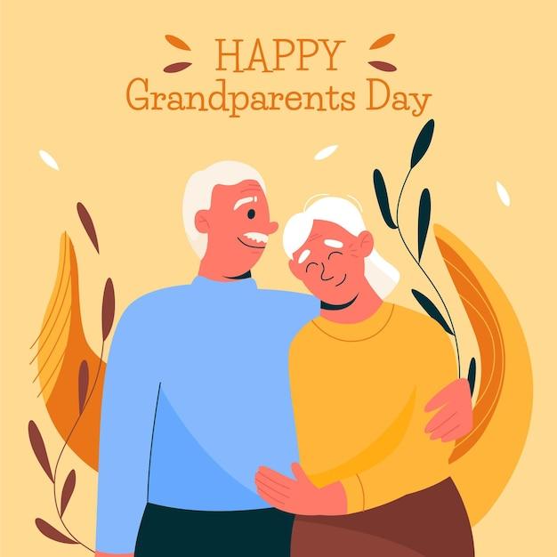 Иллюстрированные бабушки и дедушки обнимали друг друга Бесплатные векторы