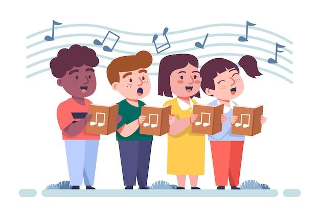 Иллюстрированная группа детей, поющих в хоре Бесплатные векторы