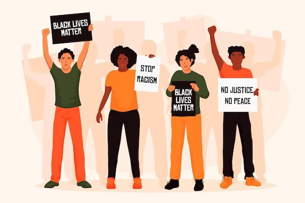 Gruppo illustrato di persone che protestano contro il razzismo Vettore gratuito