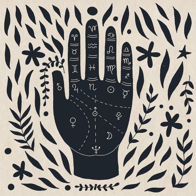 Concetto di palmistry disegnato a mano illustrato Vettore gratuito