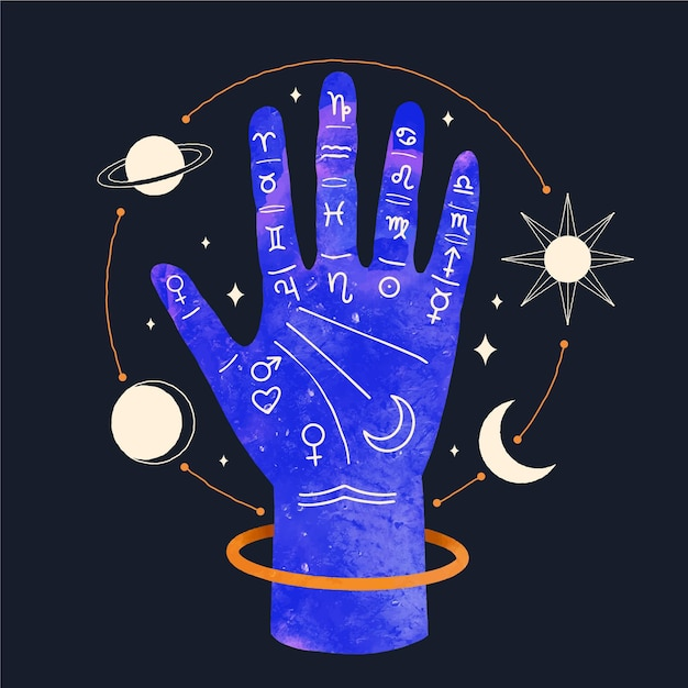 Illustrated hand with astrological elements Free Vector