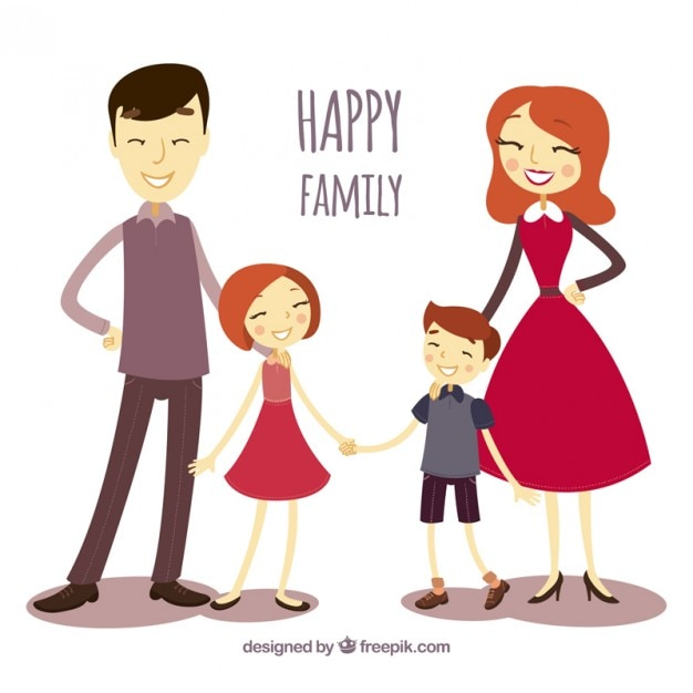 Illustrated happy family Free Vector