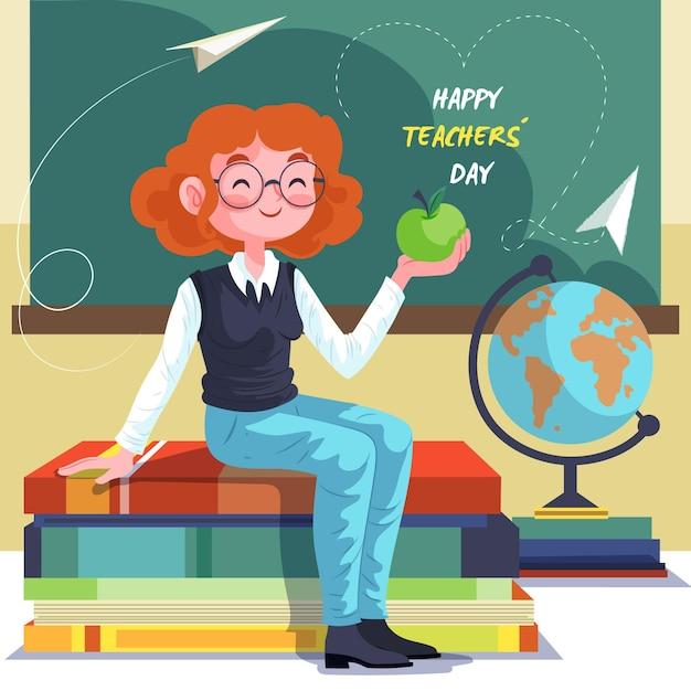 教える幸せな女のイラスト Premiumベクター