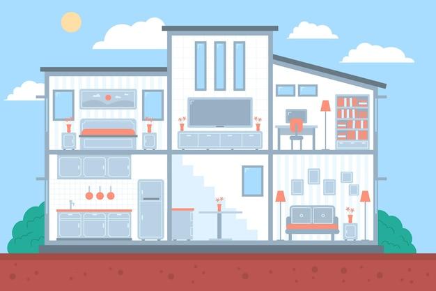 횡단면의 그림 된 집 무료 벡터