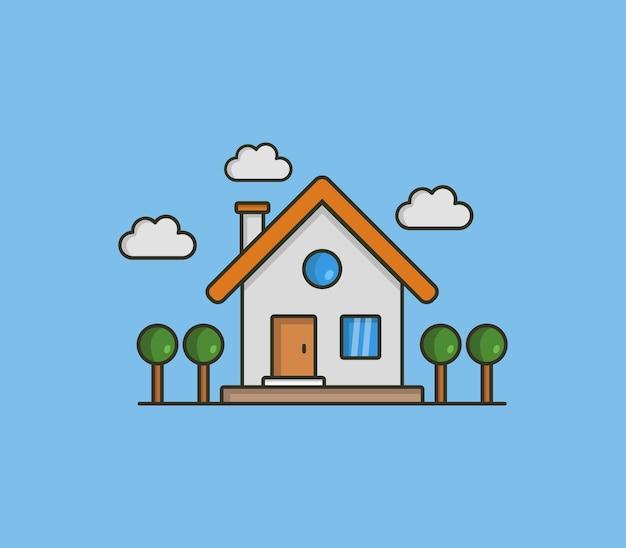 Иллюстрированный дом Бесплатные векторы