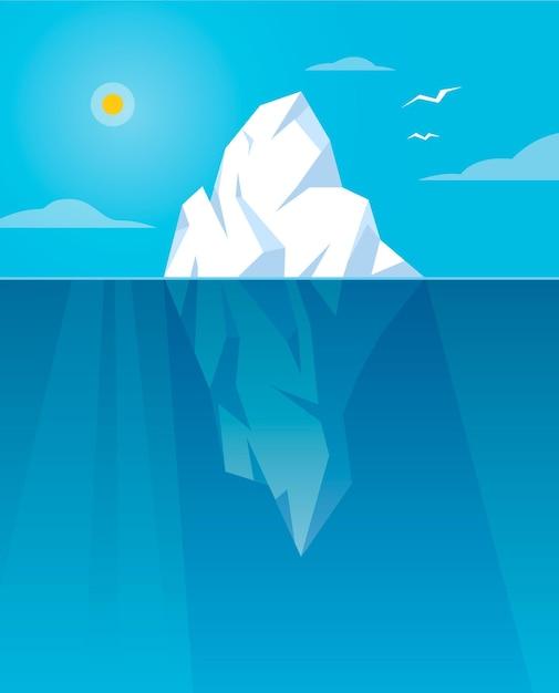 Иллюстрированный айсберг при дневном свете Бесплатные векторы