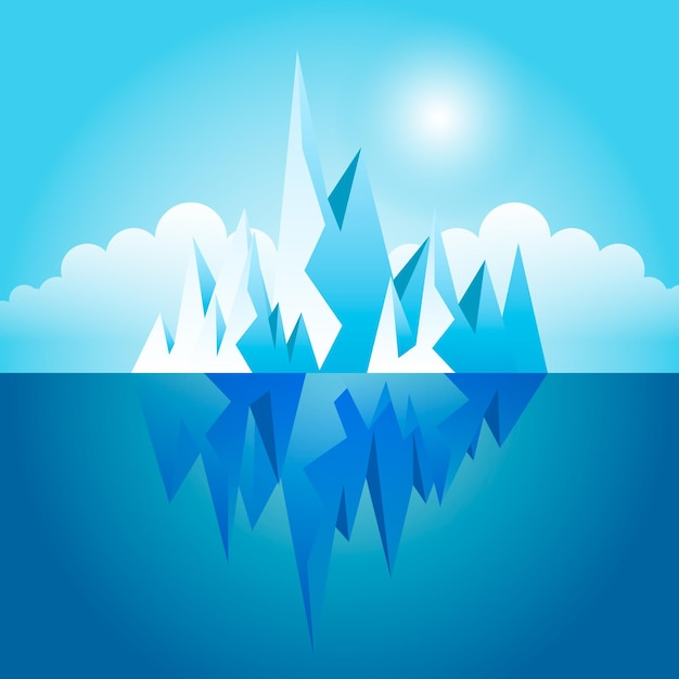 Illustrated iceberg in the ocean Free Vector