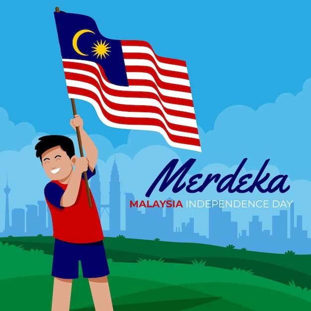 Illustrato il giorno dell'indipendenza della malesia Vettore gratuito