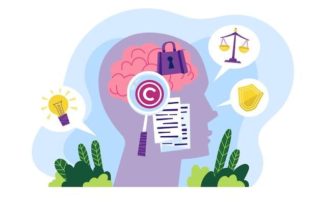 Illustrato il concetto di proprietà intellettuale Vettore gratuito