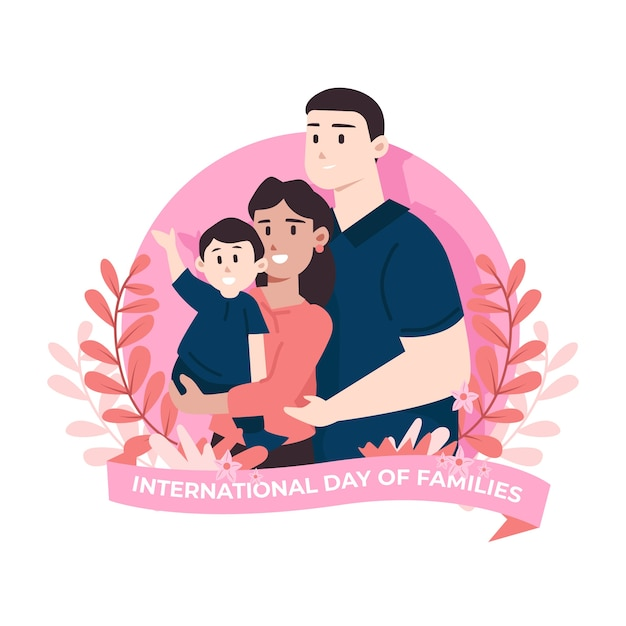 Illustrated international day of families Free Vector