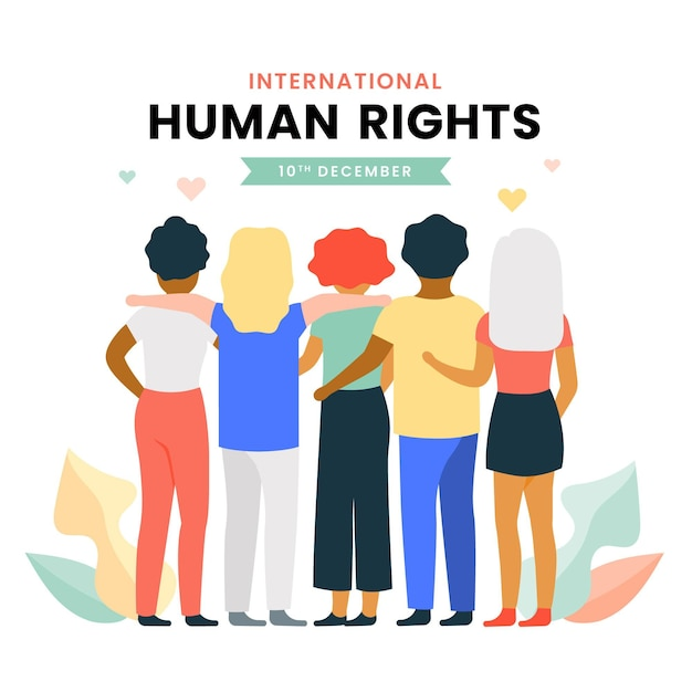 図解された国際人権デー Premiumベクター