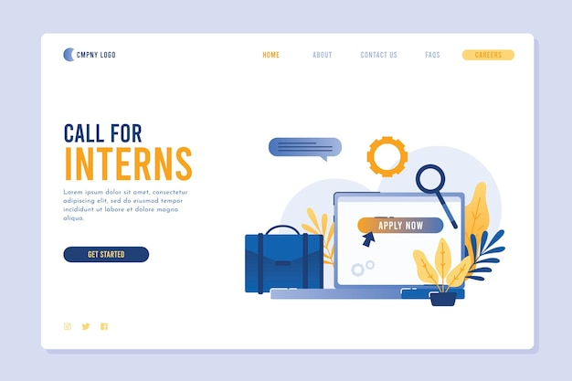 Illustrated internship program landing page template Free Vector