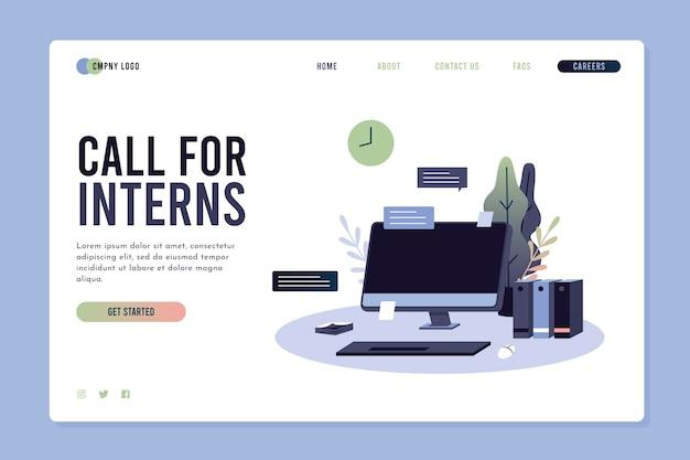 Illustrated internship program landing page Free Vector