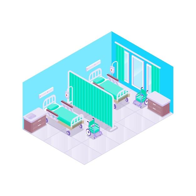 図解等尺性病室 無料ベクター
