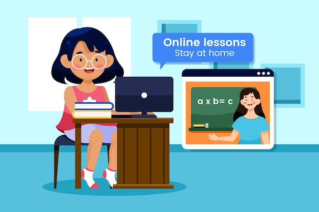 Free Vector Illustrated Kids Online Lessons