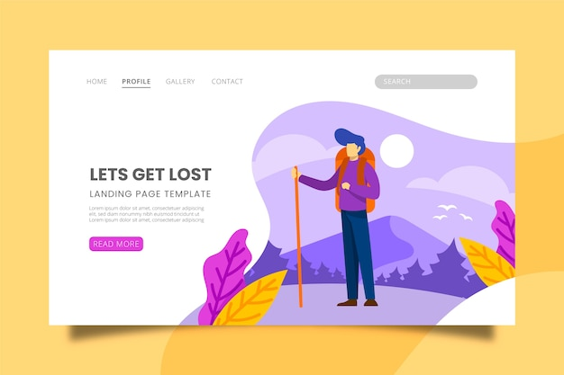 Illustrated landing page with travelling theme Free Vector