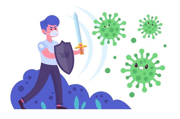 Uomo illustrato che combatte il virus Vettore gratuito