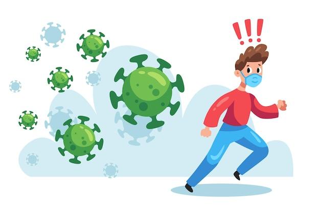 コロナウイルスの粒子から走っているイラスト入りの男 Premiumベクター