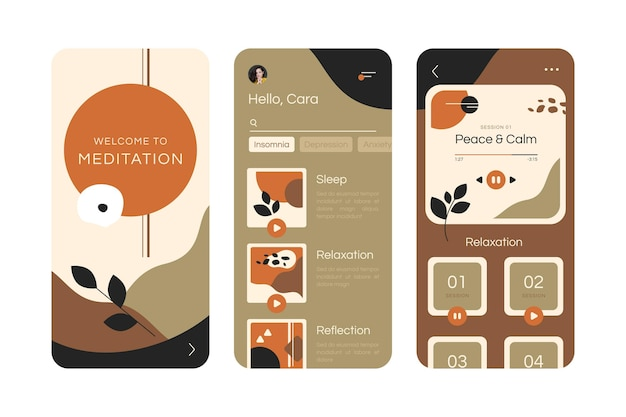 Illustrated meditation app interface template Free Vector