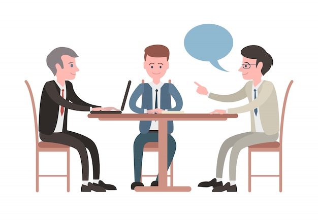 Illustrated meeting with business people Premium Vector