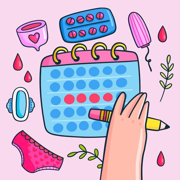 Illustrated menstrual calendar concept Free Vector