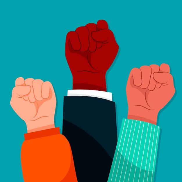 Illustrated multiracial raised fists Premium Vector