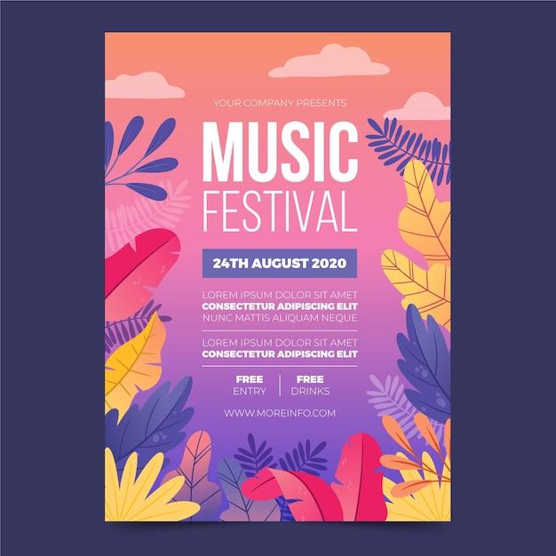 Иллюстрированный флаер музыкального фестиваля Бесплатные векторы