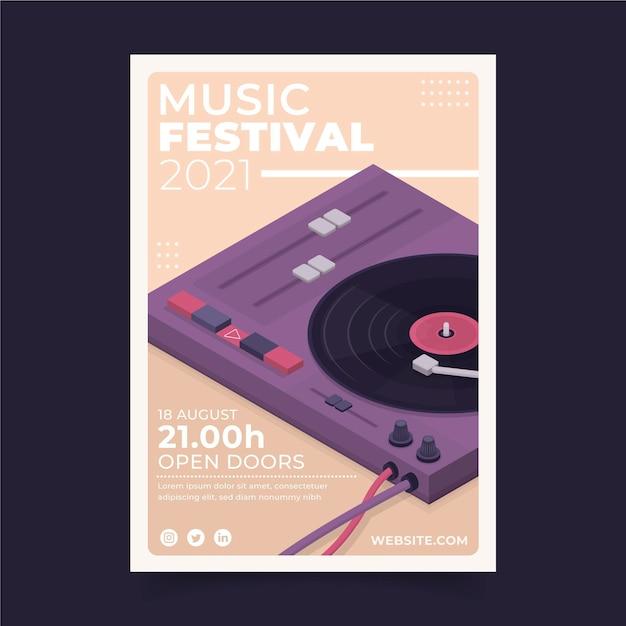 Иллюстрированный шаблон постера музыкального фестиваля Бесплатные векторы